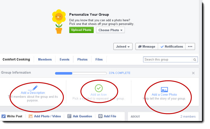 Personalize Facebook Group